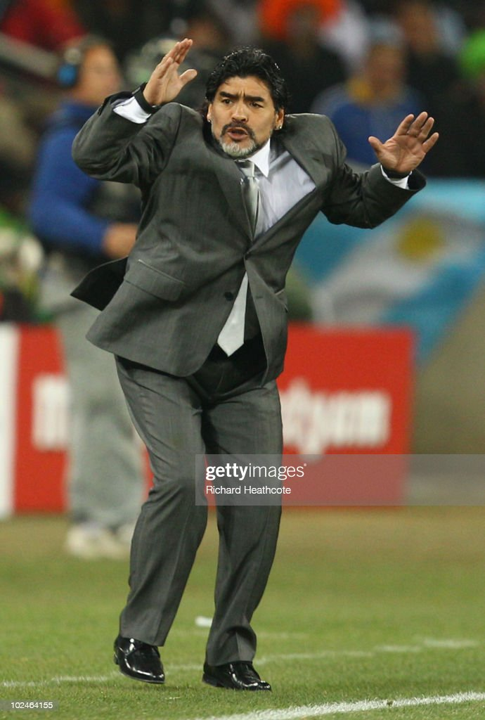 Diego Maradona head coach of Argentina reacts during the 2010 FIFA World Cup South Africa Round of Sixteen match between Argentina and Mexico at Soccer City Stadium on June 27, 2010 in Johannesburg, South Africa.
