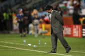 Diego Maradona head coach of Argentina shows his dejection during the 2010 FIFA World Cup South Africa Quarter Final match between Argentina and...