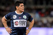 Diego Maradona in action during Interreligious Match for Peace at Olimpico Stadium on September 1 2014 in Rome Italy