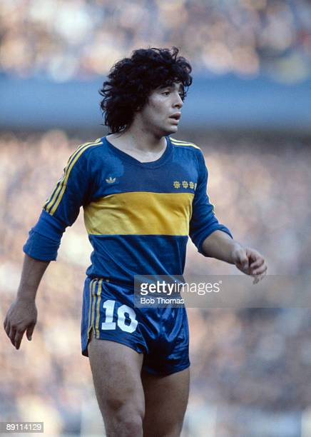 Diego Maradona in action for Boca Juniors in Buenos Aires circa 1981
