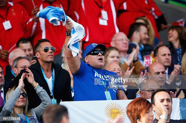 Diego Maradona is seen on the stand prior to the 2015 Rugby World Cup Pool C match between Argentina and Tonga at Leicester City Stadium on October 4...
