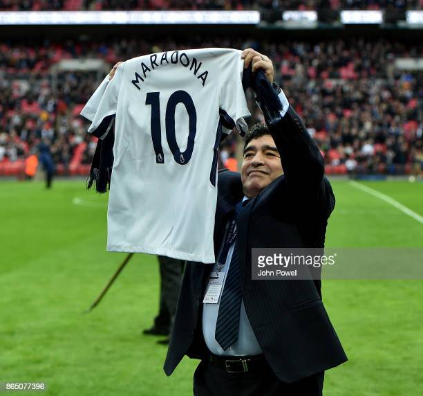 Diego Maradona legend of football during the Premier League match between Tottenham Hotspur and Liverpool at Wembley Stadium on October 22 2017 in...