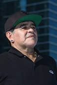 Diego Maradona looks on during the presentations following the Business Bay Stage Four of the Tour of Dubai on February 6 2016 in Dubai United Arab...