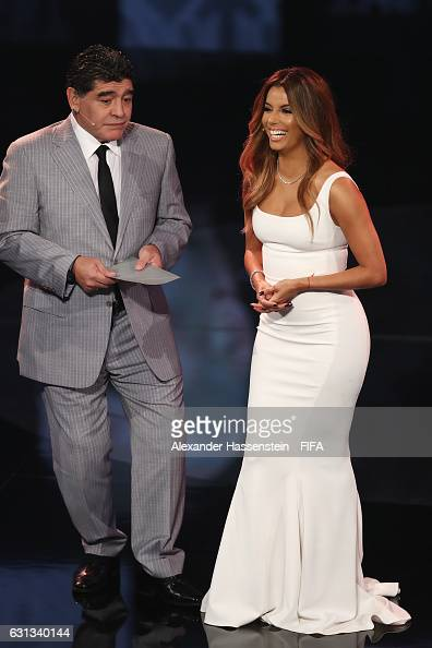Diego Maradona of Argentina and host Eva Longoria on stage during The Best FIFA Football Awards at TPC Studio on January 9 2017 in Zurich Switzerland
