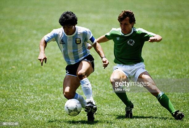 Diego Maradona of Argentina and Lothar Matthaeus of Germany in action during the FIFA World Cup final on 29 June 1986 against West Germany at the...