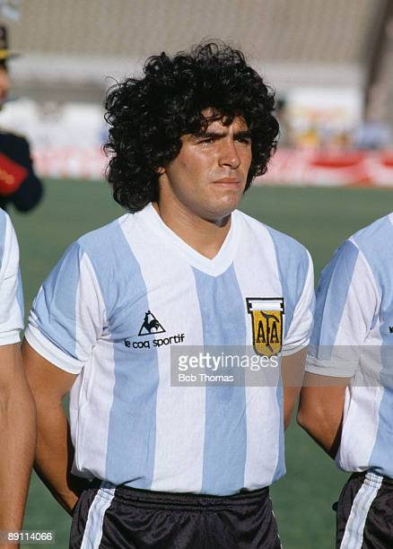 Diego Maradona of Argentina before the Argentina v Brazil Copa De Oro match played in Montevideo Uruguay during January 1981