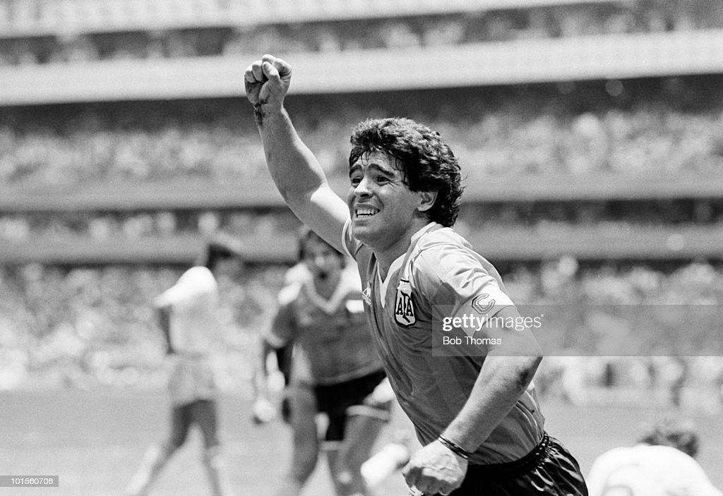 Diego Maradona of Argentina celebrates after scoring the second goal against England during a World Cup Quarter-Final match held at the Azteca Stadium, Mexico City on 22nd June 1986. Argentina beat England 2-1. (Bob Thomas/Getty Images).