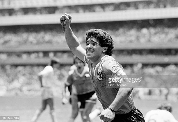 Diego Maradona of Argentina celebrates after scoring the second goal against England during a World Cup QuarterFinal match held at the Azteca Stadium...