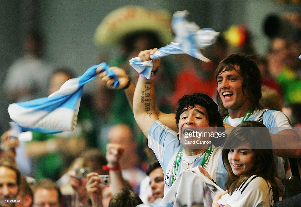 Diego Maradona of Argentina celebrates during the FIFA World Cup Germany 2006 Round of 16 match between Argentina and Mexico played at the Zentralstadion on June 24, 2006 in Leipzig, Germany.