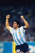 Diego Maradona of Argentina celebrates during the Group B match against Russia at the 1990 FIFA World Cup match on 13 June 1990 in the San Paolo...