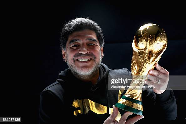 Diego Maradona of Argentina poses with the FIFA World Cup trophy prior to The Best FIFA Football Awards at Kameha Zurich Hotel on January 8 2017 in...