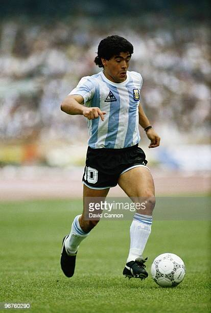 Diego Maradona of Argentina running with the ball against the Republic of Korea during the Group A match at the 1986 FIFA World Cup on 2 June 1986 at...