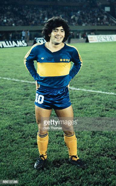 Diego Maradona of Boca Juniors before the Boca Juniors v Talleres match in Buenos Aires Argentina in 1981