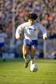 Diego Maradona of Napoli SSC in action during an Italian League match against Sampdoria UC at the Luigi Ferraris Stadium in Genoa Italy The match...