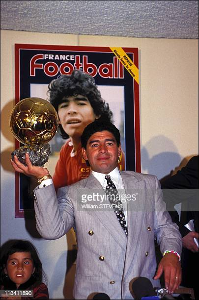 Diego Maradona Receives The 'Ballon D'Or D'Honneur' On January 03rd 1995 In Paris France