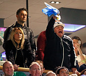 Diego Maradona Rocio Oliva attend the 2015 Rugby World Cup Semi Final match between Argentina and Australia at Twickenham Stadium on October 25 2015...