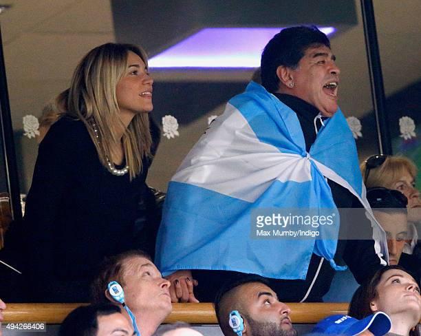 Diego Maradona Rocio Oliva attend the 2015 Rugby World Cup Semi Final match between Argentina and Australia at Twickenham Stadium on October 25 2015...