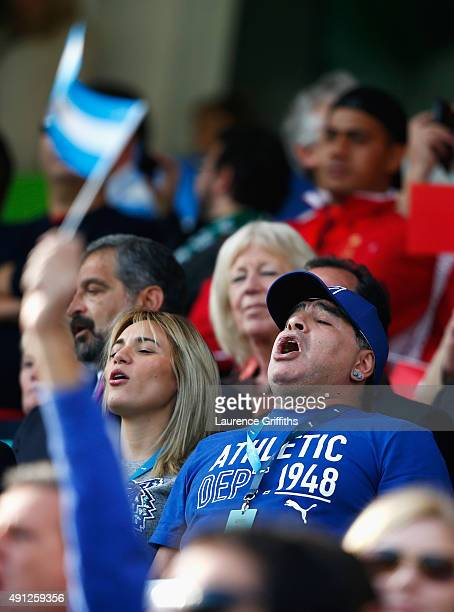 Diego Maradona sings the national anthem prior to the 2015 Rugby World Cup Pool C match between Argentina and Tonga at Leicester City Stadium on...