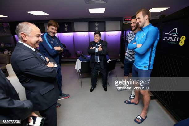 Diego Maradona speaks to Hugo Lloris of Tottenham Hotspur Harry Kane of Tottenham Hotspur Mauricio Pochettino Manager of Tottenham Hotspur and...