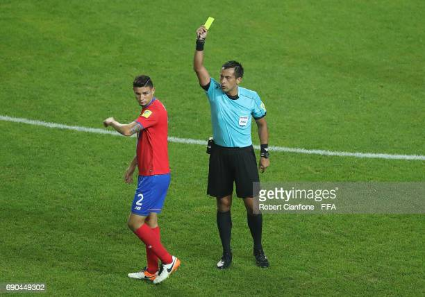 Diego Mesen of Costa Rica is shown the yellow card by referee Julio Bascunan during the FIFA U20 World Cup Korea Republic 2017 Round of 16 match...