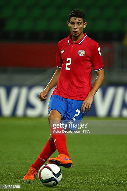 Diego Mesen of Costa Rica passes the ball at midfield during the Costa Rica v Korea DPR Group E FIFA U17 World Cup Chile 2015 match at Estadio...