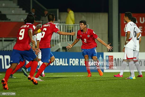 Diego Mesen of Costa Rica reacts after scoring against Korea DPR during the Costa Rica v Korea DPR Group E FIFA U17 World Cup Chile 2015 match at...