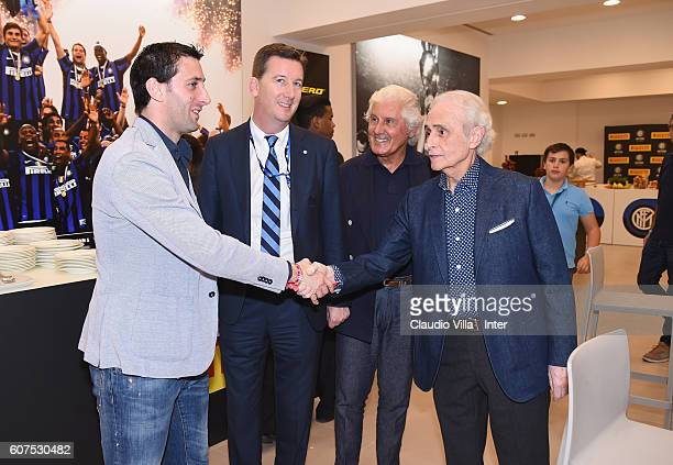 Diego Milito and Jose Carreras attend the Serie A match between FC Internazionale and Juventus FC at Stadio Giuseppe Meazza on September 18 2016 in...