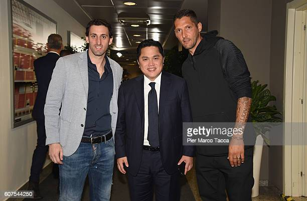 Diego Milito FC Internazionale President Erick Thohir and Marco Materazzi attend the Serie A match between FC Internazionale and Juventus FC at...