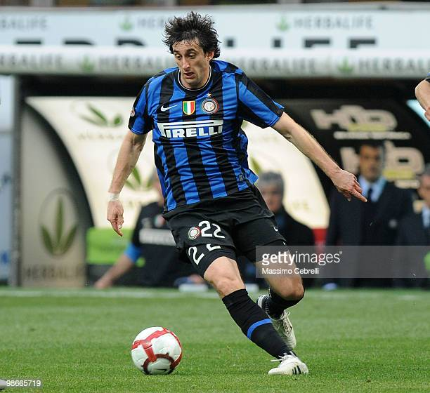 Diego Milito of FC Internazionale Milano in action during the Serie A match between FC Internazionale Milano and Atalanta BC at Stadio Giuseppe...