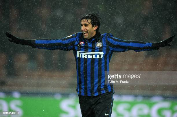 Diego Milito of Inter celebrates after scoring his fourth goal during the Serie A match between FC Internazionale Milano and US Citta di Palermo at...