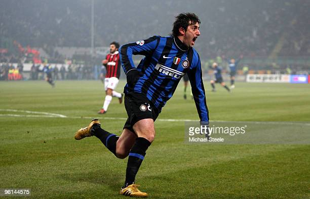 Diego Milito of Inter celebrates scoring the opening goal during the Serie A match between Inter Milan and AC Milan at Stadio Giuseppe Meazza on...