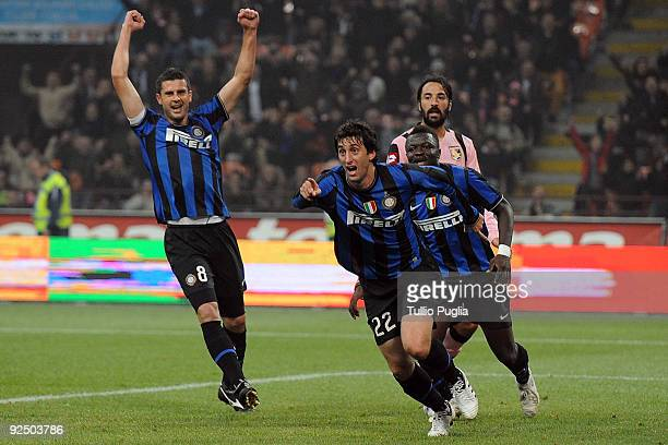Diego Milito of Inter Milan celebrates a goal during the Serie A match between FC Internazionale Milano and US Citta di Palermo at Stadio Giuseppe...