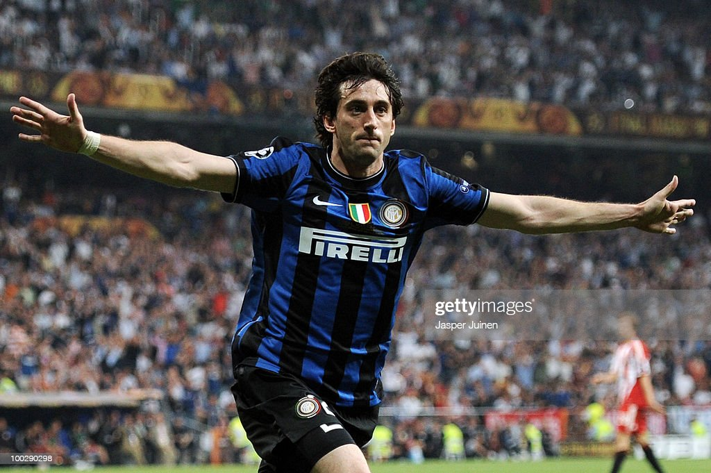 Diego Milito of Inter Milan celebrates after scoring the second goal during the UEFA Champions League Final match between FC Bayern Muenchen and Inter Milan at the Estadio Santiago Bernabeu on May 22, 2010 in Madrid, Spain.