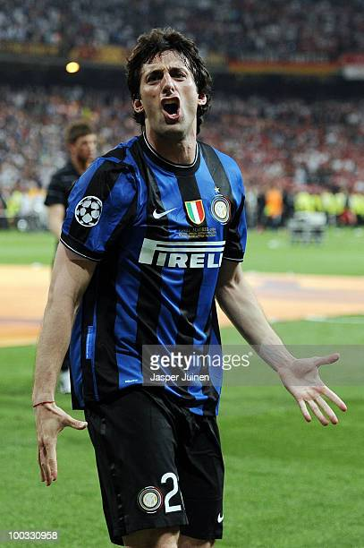 Diego Milito of Inter Milan celebrates his team victory at the end of the UEFA Champions League Final match between FC Bayern Muenchen and Inter...
