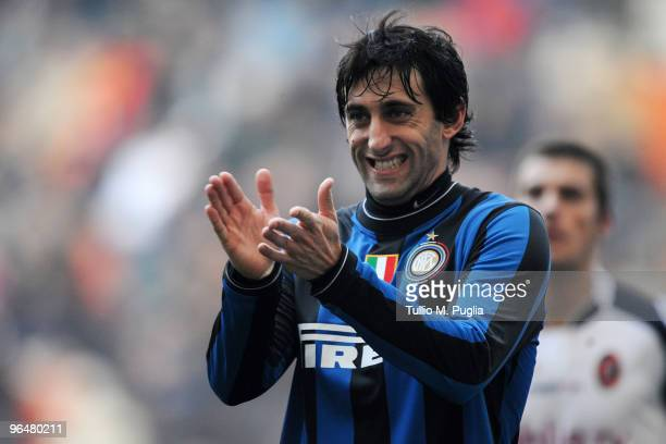 Diego Milito of Internazionale Milano applauds during the Serie A match between FC Internazionale Milano and Cagliari Calcio at Stadio Giuseppe...