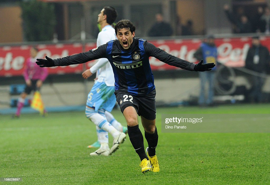 Diego Milito of Internazionale Milano celebrates after scoring their second goal during the Serie A match between FC Internazionale Milano and SSC Napoli at San Siro Stadium on December 9, 2012 in Milan, Italy.