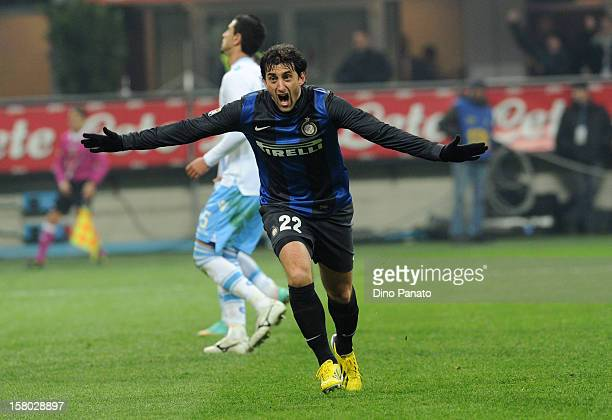 Diego Milito of Internazionale Milano celebrates after scoring their second goal during the Serie A match between FC Internazionale Milano and SSC...