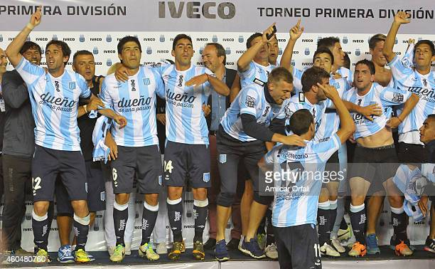 Diego Milito of Racing Club and teammates celebrate the championship after winning a match between Racing Club and Godoy Cruz as part of 19th round...