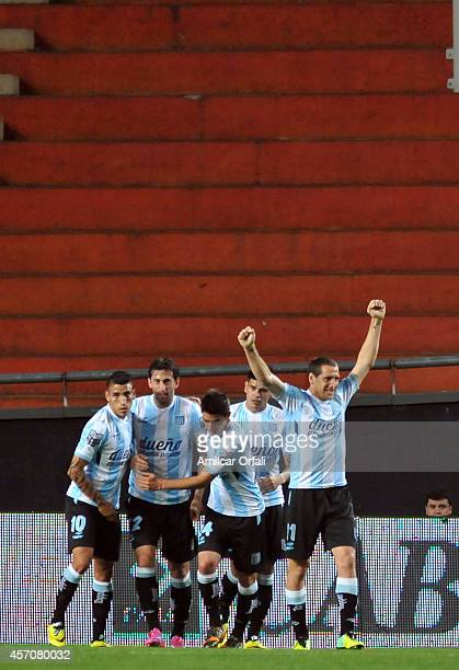 Diego Milito of Racing Club celebrates after scoring the first goal of his team during a match between Estudiantes and Racing Club as part of Torneo...