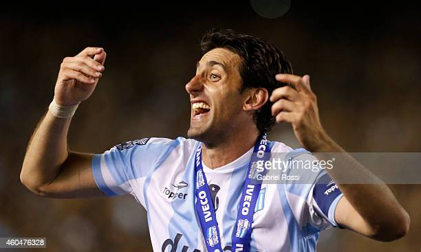 Diego Milito of Racing Club celebrates the championship after winning a match between Racing Club and Godoy Cruz as part of 19th round of Torneo de...