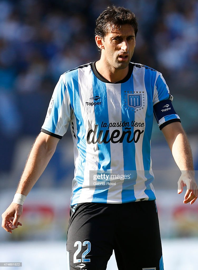 Diego Milito of Racing Club looks on during a match between Racing Club and Independiente as part of 13th round of Torneo Primera Division 2015 at Presidente Peron Stadium on May 24, 2015 in Avellaneda, Argentina.