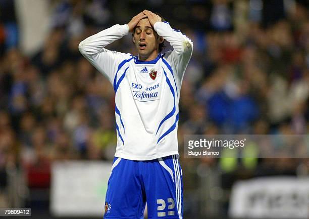 Diego Milito of Zaragoza reacts during the La Liga match between Real Zaragoza and FC Barcelona at the La Romareda stadium February 16 2008 in...