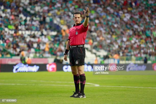Diego Montano Robles Referee in action during the 15th round match between Leon and Puebla as part of the Torneo Clausura 2017 Liga MX at Nou Camp...