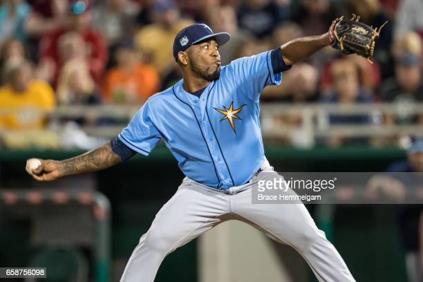 Diego Moreno of the Tampa Bay Rays pitches against the Minnesota Twins on February 24 2017 at the CenturyLink Sports Complex in Fort Myers Florida