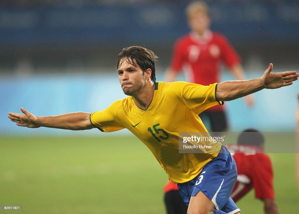 Diego of Brazil celebrates the first goal during the Bronze Medal Match between Belgium and Brazil at Shanghai Stadium on Day 14 of the Beijing 2008 Olympic Games on August 22, 2008 in Shanghai, China.