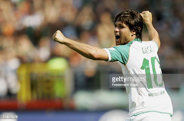 Diego of Bremen celebrates the first goal during the Bundesliga match between Werder Bremen and Bayer Leverkusen at the Weser Stadium on August 19...
