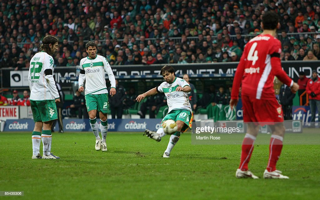 Diego of Bremen scores the first goal for his team during the Bundesliga match between Werder Bremen and VfB Stuttgart at the Weser stadium on March 15, 2009 in Bremen, Germany.