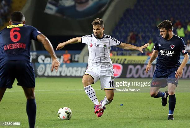 Diego of Fenerbahce in action during the Turkish Spor Toto Super League football match between Mersin Idmanyurdu and Fenerbahce at Mersin stadium on...