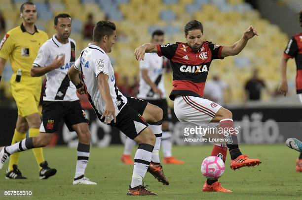 Diego of Flamengo battles for the ball with Jean of Vasco da Gama during the match between Flamengo and Vasco da Gama as part of Brasileirao Series A...