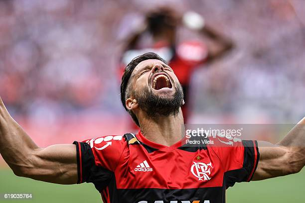 Diego of Flamengo celebrates a scored goal against Atletico MG during a match between Atletico MG and Flamengo as part of Brasileirao Series A 2016...